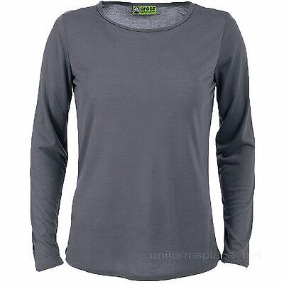 Crocs T shirt Scrubs Uniforms Women's Crew Neck Long Sleeve Tee Solid Color Top