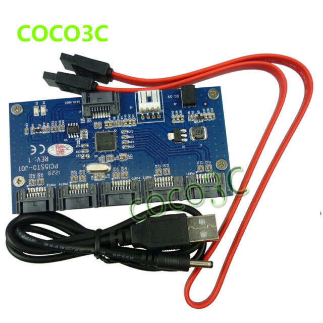 1 to 5 SATAII 3Gbps Port Multiplier Card adapter 1:5 SATA 2.0 PM riser card