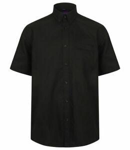 Para-hombre-Henbury-Negro-Manga-Corta-Camisa-Tamano-Pequeno-Mediano-Grande-Inteligente-Nuevo-H515