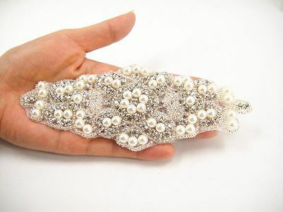 Gorgeous Diamante Pearl Bridal Applique Beaded Motif Rhinestone Wedding Applique