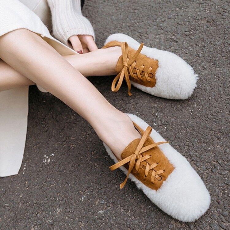Womens Ladies Winter Warm Fashion Fluffy Lamb Fur Lace Up Flat Court shoes kgqg