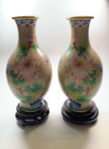 Chinese-Vintage-Cloisonne-Vase-Pair