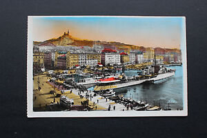 Tarjeta-postal-semi-moderne-1947-MARSELLA-Muelle-del-belga-y-ND-de-la-Guardia