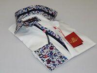 Mens Axxess Egyptian Cotton Shirt Spread Collar Floral Cuffs Satin 807 White