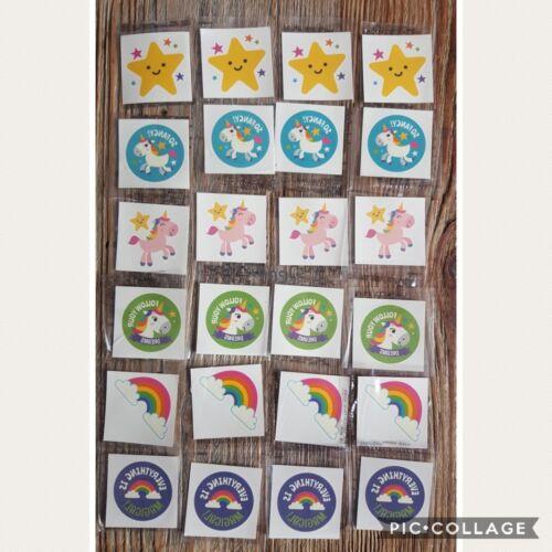 Details about  /24 x Rainbow Unicorn Tattoos Children/'s Kids Party Favours Loot Student Rewards