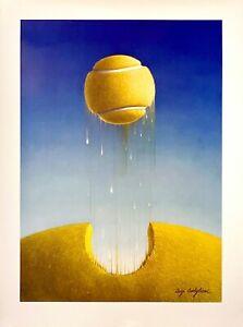 Tennis-Ball-Rising-Original-Vintage-Print-by-Luigi-Castiglioni-c1983