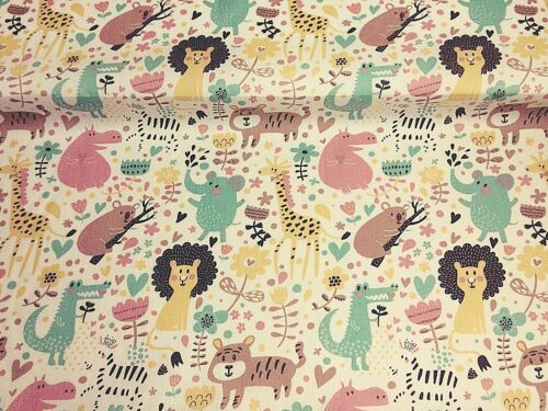 NEW PolyCotton Fabric Kids Children Animals Zoo Cream Reduced Prices Material
