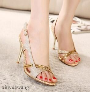 Womens-High-Heel-Stiletto-Peep-Toe-Ankle-Strap-Slingback-Party-Sandals-Shoes-SZ
