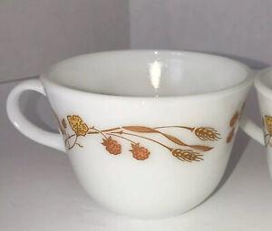 Pyrex Harvest Home Mugs Vintage Orange Wheat Flowers Round Coffee Cups-Set Of 4
