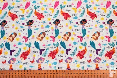 Sirenas /& Sea Life-Craft impresión de tela de algodón