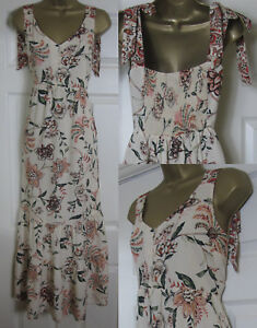 NEW-M-amp-S-Floral-Strappy-Maxi-Dress-Summer-Sun-Holiday-Boho-Beige-8-16-RRP-49