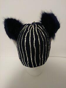 78efa6f69 Details about Womens Winter Knit Beanie Hat Double Faux Fur Pom Pom Ears  with Rhinestones