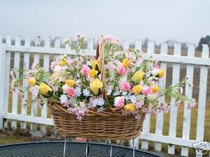 Professional-Cemetery-Tombstone-Saddle-Wildflowers-Sweetheart-Rose-Basket-Spray