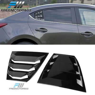 ABS Plastic Carbon Fiber Look Quarter Scoop Cover Vent By IKON MOTORSPORTS Side Window Louvers Fits 2014-2018 Mazda 3