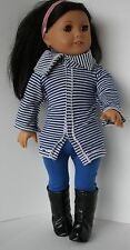 """Madame Alexander Outfit Fits 18"""" Doll EUC Striped Sweater, Leggings, Boots"""