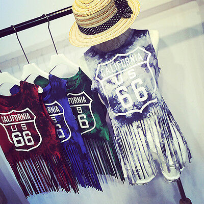 Fashion 2015 Casual Women Fringed Top Vest Sleeveless Midriff Shirt Blouse Top