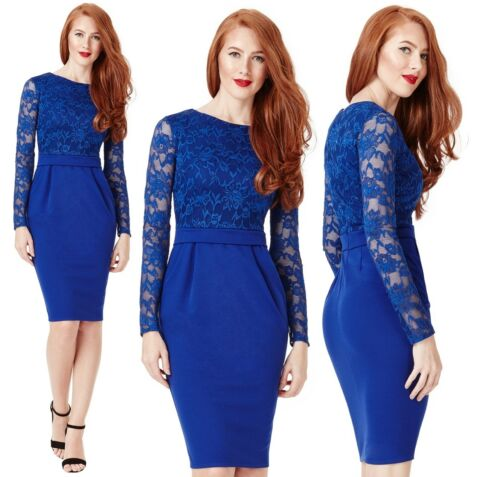 Goddiva Blue Long Sleeve Lace Marcella Fitted Cocktail Evening Party Dress