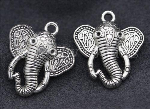 New 2//10//50pcs Antique Silver exquisite Elephant Head Charms Pendant DIY 27x24mm