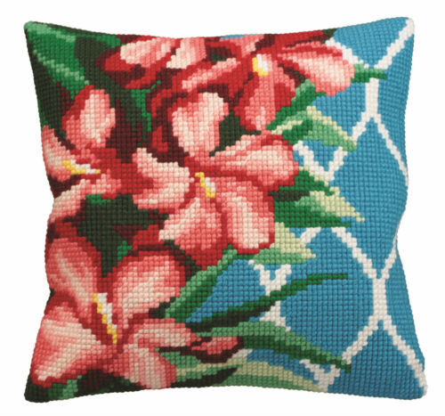 Hibiscus CD5117 Collection D/'Art Cross Stitch Cushion Kit