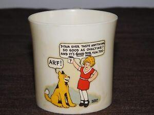 """VINTAGE KITCHEN 3"""" HIGH BEETLEWARE OVALTINE LITTLE ORPHAN ANNIE PLASTIC CUP"""