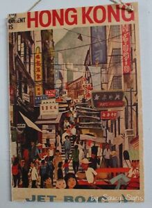 Jet-Boac-Hong-Kong-Orient-Vintage-Retro-Advertising-Travel-Poster-on-Wood-Sign