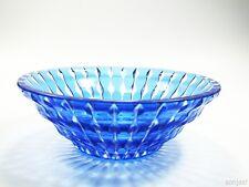 blaue Art Deco Glasschale Überfangglas mit tollem Wellenschliff