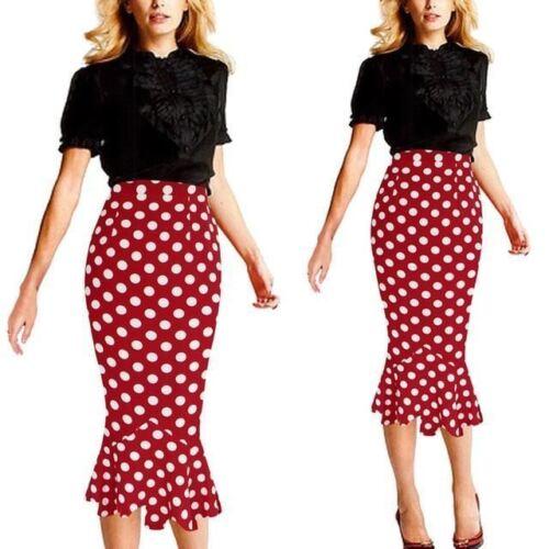 Womens Polka Dot High Waist Elastic Work Office Party Mermaid Pencil Midi Skirt