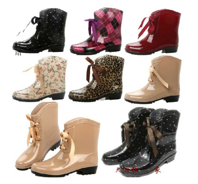 HOT RUBBER women mid calf rain boots martin water waterproof shoes thermal socks