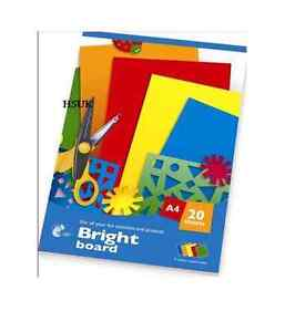 A4-BRIGHT-BOARD-CARD-20-SHEETS-5-ASSORTED-PAPER-PAD-MAKING-FUN-PROJECTS-ART-S307