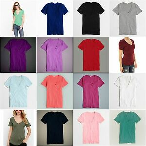 New-J-Crew-Womens-Tissue-V-Neck-Tee-Knit-Top-Cotton-Slim-T-Shirt-Sizes-XXS-XXL