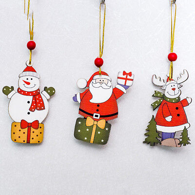 Wooden Christmas Deer Snowman Craft Elk Xmas Tree Decor Ornament Party BL3