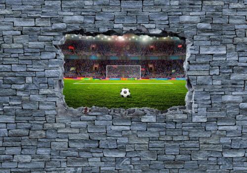 Wandbild Fototapete 3D Fußballfeld grobe Steinmauer Fototapeten Motivtapet