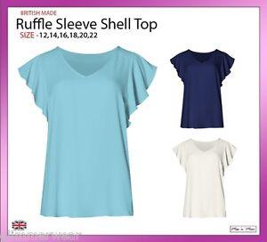 New-Ladies-Women-Plain-V-Neck-Ruffle-Sleeve-Shell-Top-Plus-Sizes-12-22
