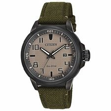 Citizen Eco-Drive Men's AW1465-14H AR Beige Dial Green Nylon Strap 43mm Watch