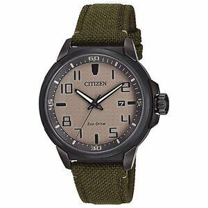 Citizen-Eco-Drive-Men-039-s-AW1465-14H-AR-Beige-Dial-Green-Nylon-Strap-43mm-Watch