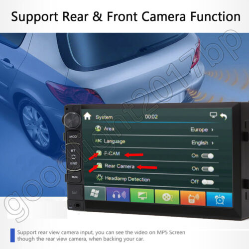 7inch HD 2 Din Wifi Touch Screen Car Stereo MP5 Player Radio Android Back Camera