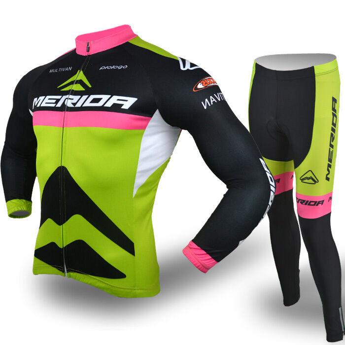 Merida Men's Reflective Cycling Jersey Long Sleeve Pants Cycling Team Clothes