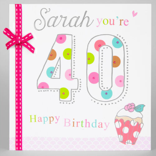 Bow Glitter 30 40 50 BIRTHDAY CARD PERSONALISED Cake Any name//Age