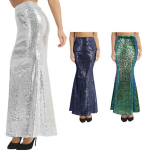 Womens Sequin Bodycon Wedding Tail Skirt Evening Party Cocktail Long ... f01384d512c6