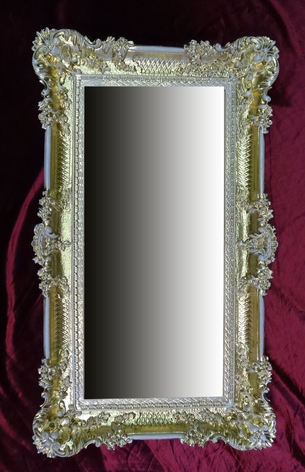 Grand baroque miroir mural ancien ornementations en or blanc 96x57 ebay for Grand miroir blanc baroque