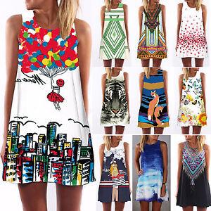 Vintage-Dama-Verano-Sin-Mangas-Playa-Corto-Vestido-Mini-De-Camisetas-Tirantes