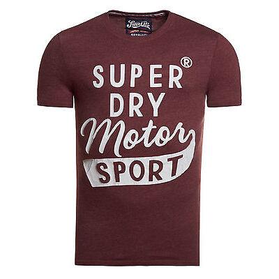 Neues Herren Superdry Motor Sport Worn-Wash T-Shirt Port Meliert