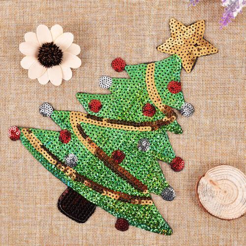 merry xmas sequins christmas tree cartoons happy diy applique irons on patchZP