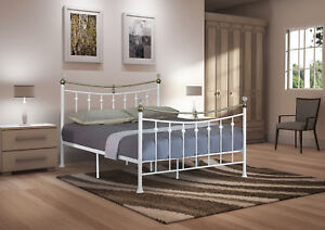 6a2b6ed74674 4ft, 4ft6 Double, 5ft King White or Black Metal Bed with Crystal ...