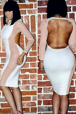 sexy Netzeinsatz Langarm Bodycon Clubwear Party Abend Kleid rückenfrei weiß L