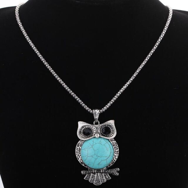 Cute Black Crystal Turquoise Owl Pendant chain Necklace Earrings Set jewelry