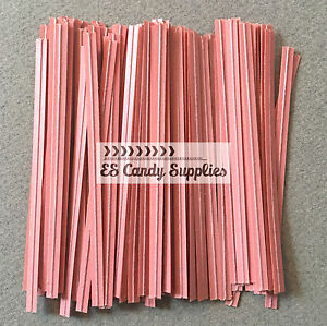 "Amical 100 Light Pink Twist Ties, Light Pink Paper Twist Ties - 3 1/2"""