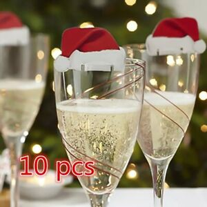 BONNET-DU-PERE-NOEL-LOT-10-CHAPEAUX-DE-DECORATION-VERRE-DE-TABLE-FETE-DE-NOEL