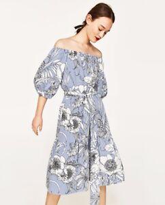 720cf477 ZARA White & Blue With Stripes and Floral Print Midi Tunic Dress ...