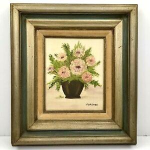 Vintage-Floral-Vase-Floral-Flowers-Wood-Frame-Oil-Hand-Painting-Art-Forshee